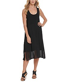 Sheer-Hem Sleeveless Dress