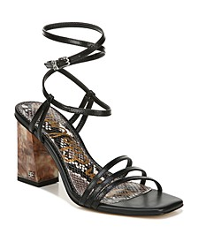 Doriss Ankle-Wrap Strappy Block Heel Sandals