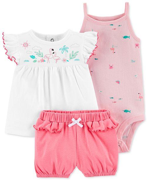 Carter's Baby Girls 3-Pc. Cotton Flamingo Top, Printed Bodysuit & Shorts Set