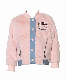 Toddler, Little, and Big Girls Fur Bomber Jacket
