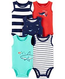 Baby Boys 5-Pk. Printed & Striped Tank Cotton Bodysuits