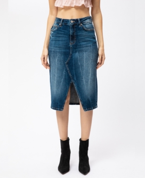 High Rise Front Slit Midi Skirt