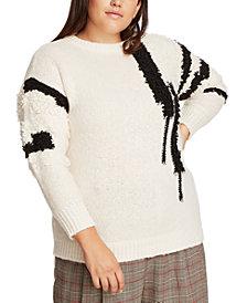 1.STATE Trendy Plus Size Crewneck Printed Sweater