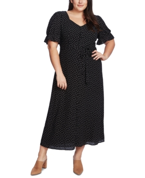 1930s Plus Size Dresses | Art Deco Plus Size Dresses 1.state Trendy Plus Size Scatter Dot Puff-Sleeve Dress $46.44 AT vintagedancer.com