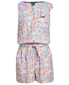 Big Girls Umbrella-Print Romper