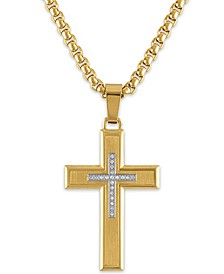 "Men's Diamond Cross 22"" Pendant Necklace (1/10 ct. t.w.) in Gold Ion-Plated Stainless Steel"