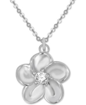 Flower Pendant Necklace in Fine Silver-Plate