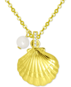 Shell & Freshwater Pearl (6mm) Pendant Necklace in Gold-Plate