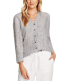 Linen Striped Split-Neck Blouse