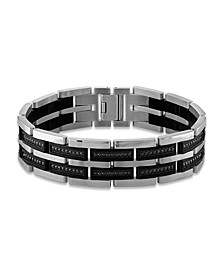 "Men's 1 Carat Black Diamond 8 1/2"" Bracelet in Stainless Steel and Black Ion Plating"