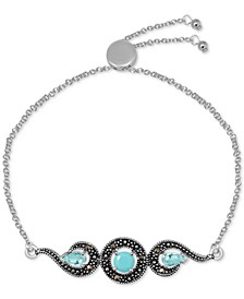 Genuine Swarovski Marcasite & Reconstituted Turquoise Adjustable Bracelet in Fine Silver-Plate