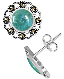 Genuine Swarovski Marcasite & Reconstituted Turquoise Stud Earrings in Fine Silver-Plate