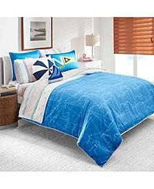 Kids Sailboat Blueprint 2-Piece Twin Comforter Set
