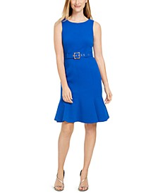 Petite Sleeveless Belted Flare-Hem Sheath Dress