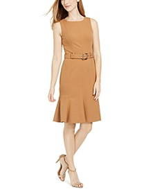 Petite Belted Flare-Hem Sheath Dress