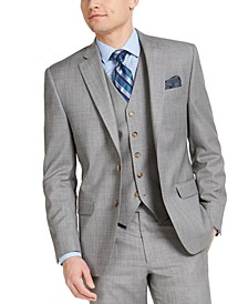 Men's Classic-Fit UltraFlex Stretch Light Gray Sharkskin Suit Jacket