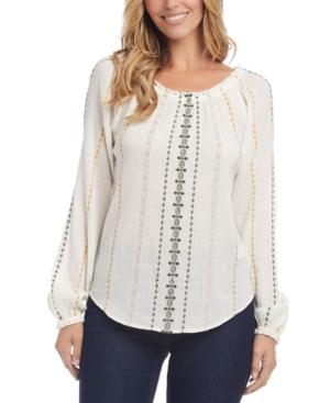 Karen Kane Cotton Embroidered Textured Top