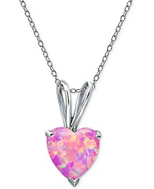 "Cubic Zirconia Heart 18"" Pendant Necklace in Sterling Silver"