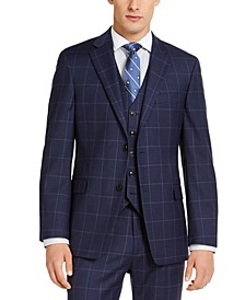 Men's Classic-Fit TH Flex Stretch Navy Blue Windowpane Suit Jacket