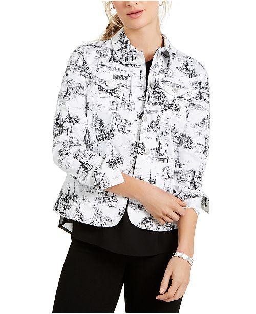 Charter Club Jacquard-Print Denim Jacket, Created for Macy's