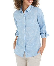 Artful Paisleys Printed Linen-Blend Shirt, Created for Macy's