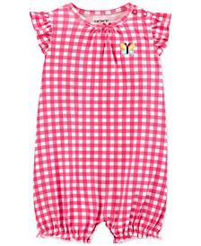 Baby Girls Gingham-Print Cotton Romper