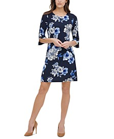 Petite Floral-Print Grommet-Sleeve Dress