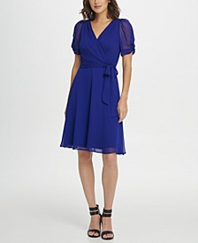 Knot Puff Sleeve V-Neck Fit & Flare