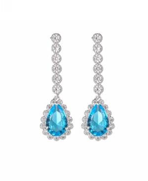 A & M Silver-Tone Aqua Drop Earrings