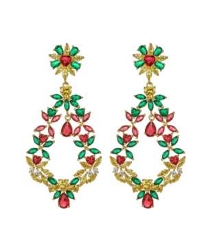 A & M Gold-Tone Emerald and Ruby Accent Earrings