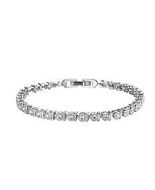 Silver-Tone Round White Topaz Accent Tennis Bracelet