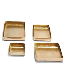 Set of 4 Gold Hand-Crafted Trays Iron