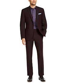 Men's Slim-Fit Stretch Burgundy Solid Suit