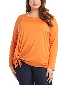 Plus Size Tie-Front Long-Sleeve Top