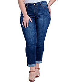 Trendy Plus Size Tummyless Rolled-Hem Embroidered Skinny Jeans