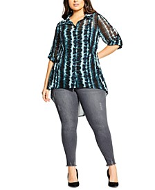 Trendy Plus Size Tie-Dyed Shirt