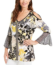 Printed Cold-Shoulder Tunic Top, Created for Macy's