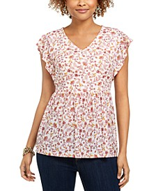 Printed Flutter-Sleeve V-Neck Top, Created for Macy's