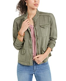 Frayed-Hem Linen-Blend Jacket, Created For Macy's