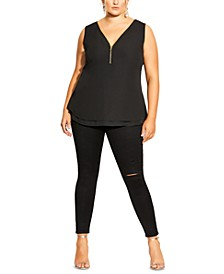 Trendy Plus Size Sexy Zip Top