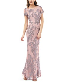 Short-Sleeve Soutache Gown