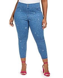 Plus Size High-Rise Ditsy Floral-Print Denim Skimmer Leggings