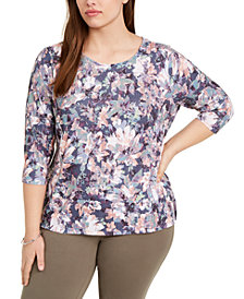 Belldini Plus Size Printed Textured Tie-Back Top