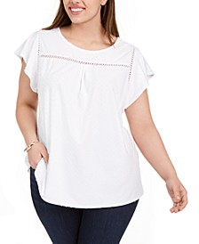Plus Size Swiss-Dot Flutter-Sleeve Top