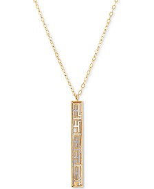 "EFFY® Greek Key Vertical Bar 18"" Pendant Necklace in 14k Gold & Rhodium-Plate"
