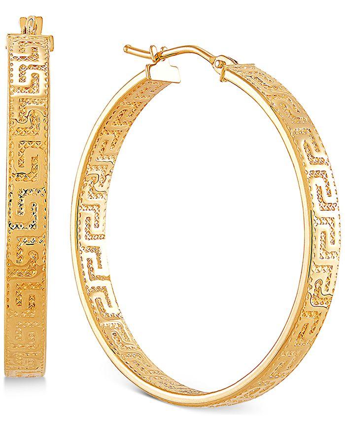 """Italian Gold - Medium Greek Key Hoop Earrings in 14k Gold, 1.2"""""""