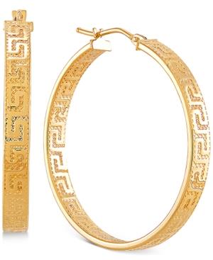 Medium Greek Key Hoop Earrings in 14k Gold