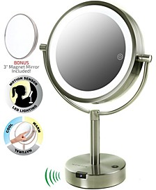 "8.5"" LED Lighted Tabletop Makeup Mirror with Motion Sensor, Dual-Sided"
