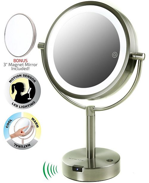 """OVENTE 8.5"""" LED Lighted Tabletop Makeup Mirror with Motion Sensor, Dual-Sided"""