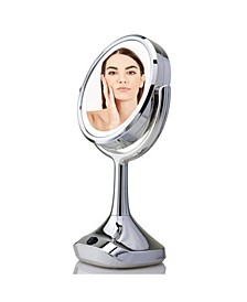 "Dual-Sided 6"" Lighted Tabletop Makeup Mirror"